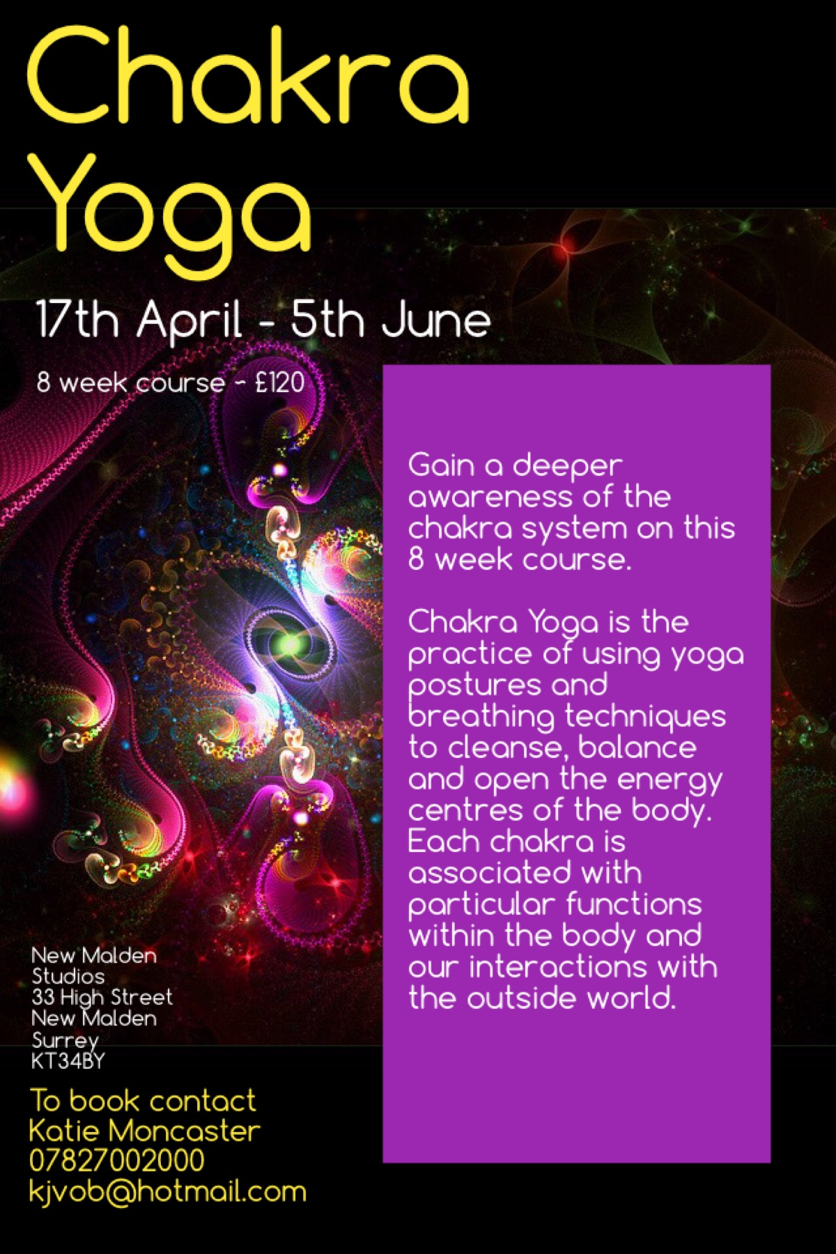 New Malden Studios | Eight-Week Chakra Yoga Course